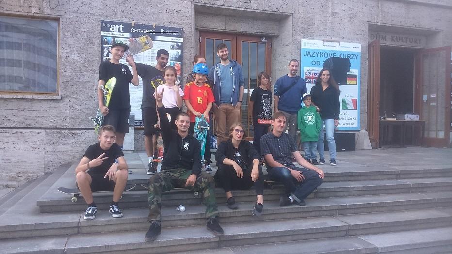 Workshop na skejtový film před kulturním domem města Ostrava